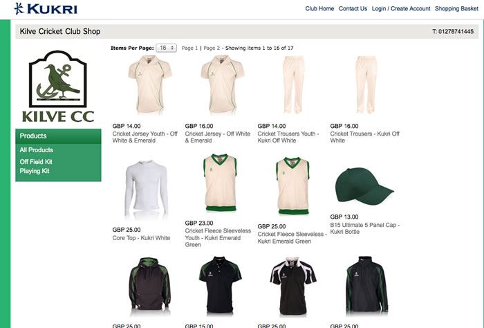 New Kilve Cricket clothing available now from the online store