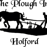 Black and white picture of a man ploughing a field with his horse - logo for Plough Inn, Holford